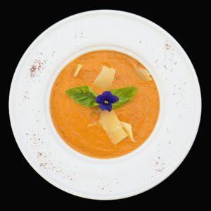 Суп из болгарского перца с маскарпоне и базиликом (zuppa di peperoni al forno con mascarpone)
