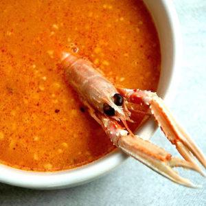 Томатный крем-суп из лангустина