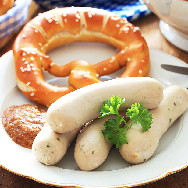 close-up, rustikale Weiwurst